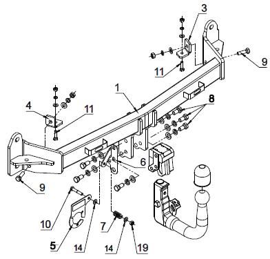 Estraibili verticale kit elettrico 7poli per BMW SERIE 5 2010 F11 Familiare